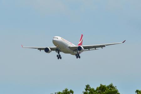 Singapore - Mar 26, 2019. Air Mauritius 3B-NBL (Airbus A330-300) landing at Changi Airport (SIN). Changi hits record 65 million passengers in 2018. Editorial