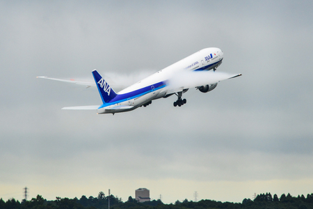 Tokyo, Japan - Jul 4, 2019. JA785A All Nippon Airways Boeing 777-300(ER) taking-off from Narita Airport (NRT). Narita serves more than 40 million passengers in 2018.