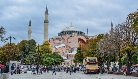 Istanbul, Turkey - Sep 27, 2018. View of Hagia Sophia in Istanbul, Turkey. It was the world largest building and an engineering of its time. Editorial