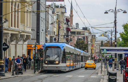Istanbul, Turkey - Sep 27, 2018. Modern tram in Istanbul, Turkey. Istanbul is the city of two continents, one of most visited cities in the world.