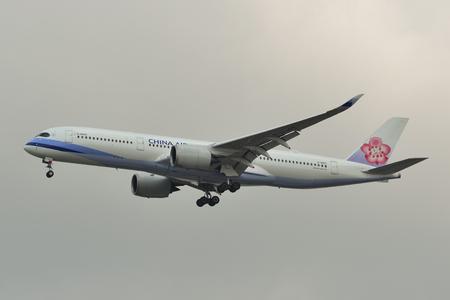 Bangkok, Thailand - Apr 21, 2018. An A350-900 airplane of China Airlines landing at Bangkok International Airport (BKK).
