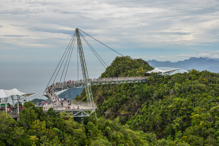 Langkawi, Malaysia - Apr 30, 2018. Sky Bridge on mountain and tropical forests in the Langkawi Island, Malaysia.
