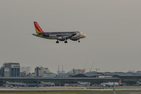 Saigon, Vietnam - May 11, 2018. An A320 airplane of Vietjet Air landing at Tan Son Nhat Airport in Saigon (Ho Chi Minh City), Vietnam.