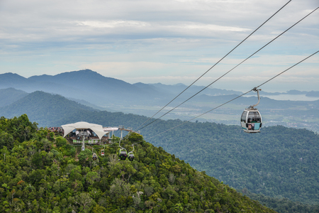 Langkawi, Malaysia - Apr 30, 2018. Mountainscape with cable car on Langkawi Island. View from the observation deck. Редакционное