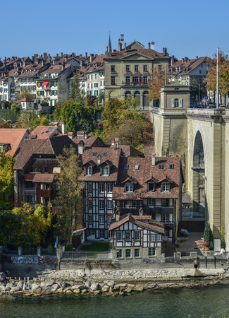 Bern, Switzerland - Oct 22, 2018. View of Medieval Town in Bern, Switzerland. The historic old town of Bern became a Site in 1983. Sajtókép