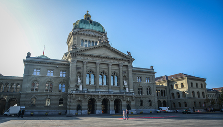 Bern, Switzerland - Oct 22, 2018. View of Parliament Building in Bern, Switzerland. The Building (Bundeshaus) is the seat of the Swiss government and parliament.