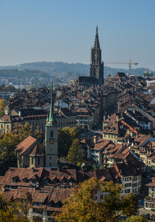 Aerial view of Medieval Town in Bern, Switzerland. The historic old town of Bern became a Site in 1983.