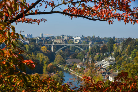 Beautiful landscape of Bern with old bridge. Bern is capital of Switzerland and fourth most populous city. Éditoriale