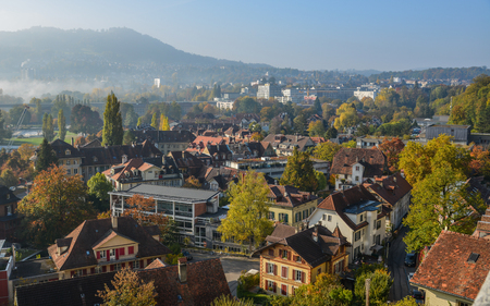 View of Medieval Town in Bern, Switzerland. The historic old town of Bern became a Site in 1983.