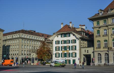Bern, Switzerland - Oct 22, 2018. Old street of downtown in Bern, Switzerland. Bern is the de facto capital of Switzerland, referred to by the Swiss as their Bundesstadt. Éditoriale