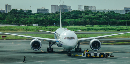 Manila, Philippines - Dec 4, 2018. A 787-9 Dreamliner of All Nippon Airways (ANA) taxiing on runway of Manila NAIA Airport (MNL).