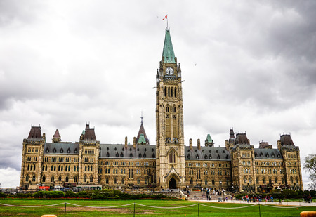 Ottawa, Canada - May 14, 2017. Parliament Buildings in Ottawa, Canada. The buildings designed in a Gothic Revival style, and opened on June 1866.