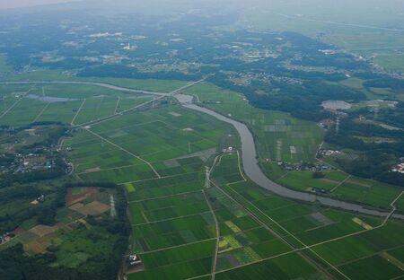 Aerial view of paddy rice field at summer day near Narita, Japan.