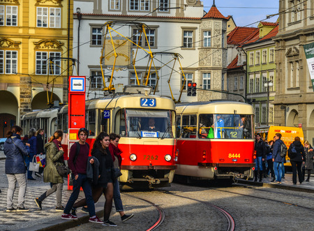 Prague, Czechia - Oct 26, 2018. Retro tram at old town of Prague (Praha), Czechia. The Prague tram network is the third largest in the world.