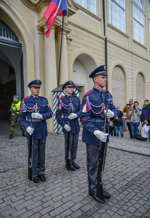 Prague, Czech - Oct 26, 2018. Changing the Guard at Prague (Czech). This is one of the most important cultural institutions in the Czech Republic. 報道画像