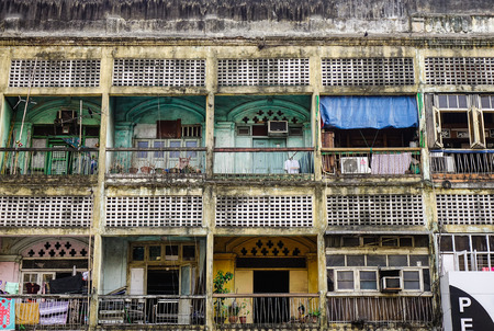 Yangon, Myanmar - Feb 13, 2017. Old apartments at Chinatown in Yangon, Myanmar. Yangon has the highest number of colonial period buildings in south-east Asia. Editorial
