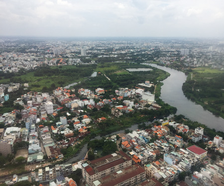 Aerial view of Saigon (called Ho Chi Minh City), Vietnam. Saigon population is expected to grow to 13.9 million by 2025.