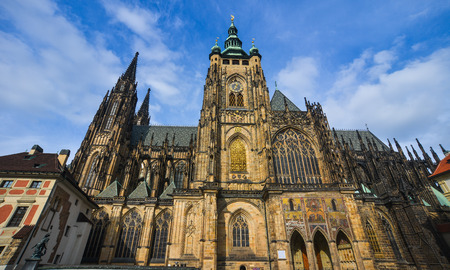 Prague, Czech - Oct 26, 2018. St. Vitus Cathedral in Prague complex in Czech Republic. The church is one of the most richly endowed cathedrals in Europe. Editorial