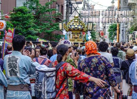 Tokyo, Japan - May 20, 2017. Procession of Mikoshi Matsuri Festival in Tokyo, Japan. Mikoshi Matsuri is one of the three great Shinto festivals of Tokyo.