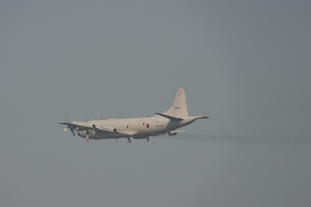 Saigon, Vietnam - Jan 29, 2019. A Lockheed P-3 Orion of Japan Maritime Self-Defense Force (JMSDF) taking-off from Tan Son Nhat Airport (SGN).