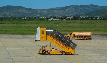 Dalat, Vietnam - Oct 30, 2015. Gangway on airfield of Lien Khuong Airport (DLI) in Dalat, Vietnam.