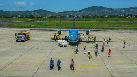 Dalat, Vietnam - Oct 30, 2015. An ATR 72 airplane of Vietnam Airlines docking at Lien Khuong Airport (DLI) in Dalat, Vietnam. Stock Photo - 127722507