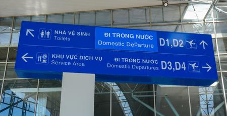 Dalat, Vietnam - Oct 30, 2015. Direction boards at Departure Hall of Lien Khuong Airport (DLI) in Dalat, Vietnam. Sajtókép