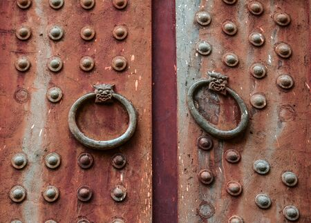 Wooden door at ancient building in Nanning, China.