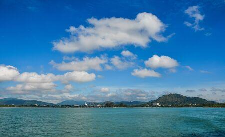 Seascape of Phuket Island, Thailand. Phuket is 48 km in length, 21 km at its widest, on the west-facing Andaman Sea coastline. Zdjęcie Seryjne - 129327128