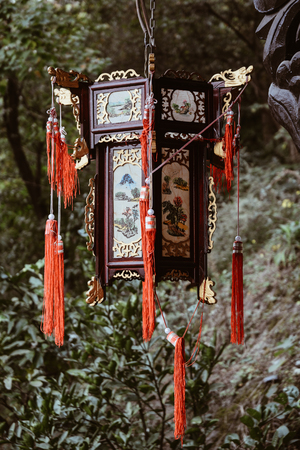Nanning, China - Nov 2, 2015. A wooden lantern at ancient palace in Nanning, China. Nanning is a city in southern China near the Vietnam border.