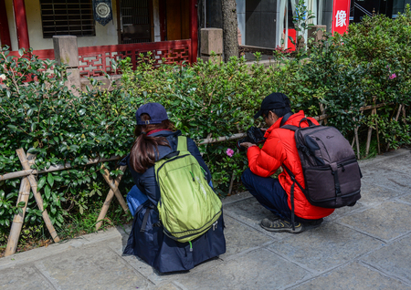 Nanning, China - Nov 2, 2015. Backpack travelers taking pictures at flower garden in Nanning, China. Nanning is a city in southern China near the Vietnam border.