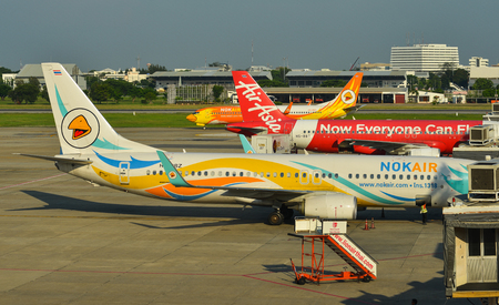 Bangkok, Thailand - Apr 24, 2018. Passenger airplanes docking at Bangkok Don Muang International Airport (DMK).