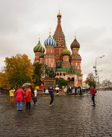 Moscow, Russia - Oct 4, 2016. View of Saint Basil Cathedral at the Red Square in Moscow, Russia. The church is one of the most recognizable symbols of the country.