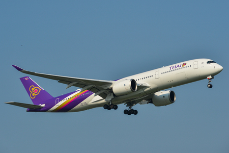 Bangkok, Thailand - Apr 23, 2018. Thai Airways HS-THL (Airbus A350-900) landing at Bangkok Suvarnabhumi International Airport (BKK).