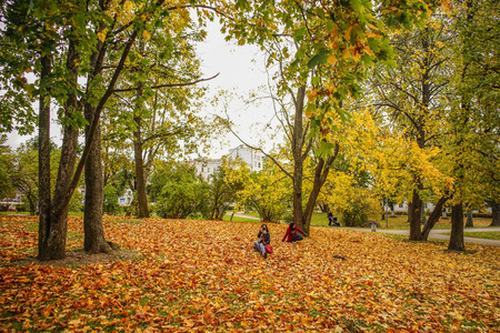 Saint Petersburg, Russia - Oct 4, 2016. People enjoying at autumn park in Saint Petersburg, Russia. Redactioneel