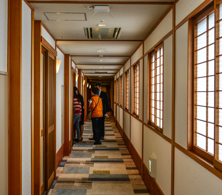 Kyoto, Japan - May 18, 2018. Interior of luxury hotel in Kyoto, Japan. Kyoto served as Japan capital and the emperor residence from 794 until 1868.