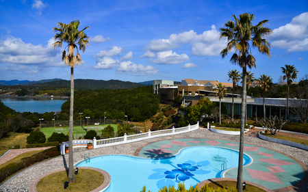Matsusaka, Japan - Mar 18, 2018. Outdoor swimming pool of a luxury hotel near Ise Bay at summer day in Matsusaka, Japan.