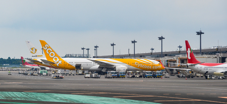 Tokyo, Japan - Jul 3, 2019.  Passenger airplanes docking at Tokyo Narita Airport (NRT). Narita is one of the busiest airports in Asia.