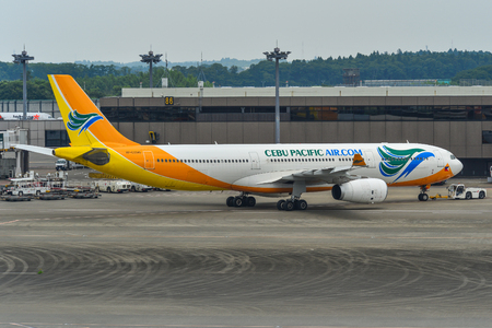 Tokyo, Japan - Jul 3, 2019. RP-C3345 Cebu Pacific Airbus A330-300 taxiing on runway of Tokyo Narita Airport (NRT). Narita is one of the busiest airports in Asia. 報道画像