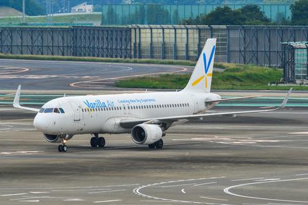 Tokyo, Japan - Jul 3, 2019. JA02VA Vanilla Air Airbus A320 taxiing on runway of Tokyo Narita Airport (NRT). Narita is one of the busiest airports in Asia.