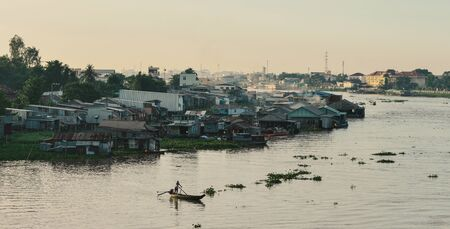 Floating houses on Mekong River in Chau Doc, Vietnam. Chau Doc is a city in the heart of the Mekong Delta, in Vietnam. 写真素材