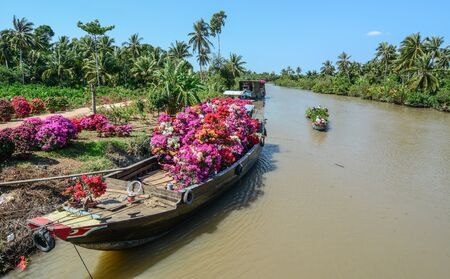 Can Tho, Vietnam - Jan 31, 2016. Wooden boats carrying flowers at spring time in Can Tho, Vietnam. Stock Photo