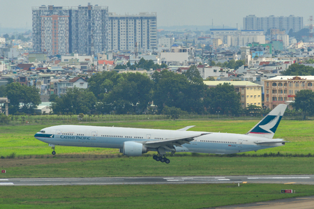 Saigon, Vietnam - Jul 13, 2019. B-KPI Cathay Pacific Boeing 777-300ER landing at Tan Son Nhat Airport (SGN) in Saigon, Vietnam.