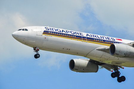 Singapore - Mar 27, 2019. Singapore Airlines 9V-SSI (Airbus A330-300) landing at Changi Airport (SIN). Changi hits record 65 million passengers in 2018.