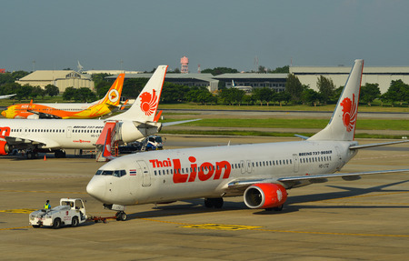 Bangkok, Thailand - Apr 24, 2018. HS-LTZ Thai Lion Air Boeing 737-900ER taxiing on runway of Bangkok Don Muang International Airport (DMK).