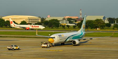 Bangkok, Thailand - Apr 24, 2018. HS-DBO Nok Air Boeing 737-800 taxiing on runway of Bangkok Don Muang International Airport (DMK).