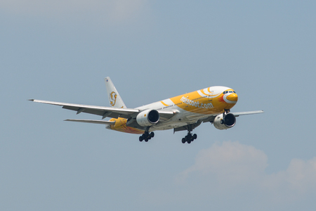 Bangkok, Thailand - Apr 24, 2018. NokScoot Boeing 777-200 landing at Bangkok Don Muang International Airport (DMK). Editorial