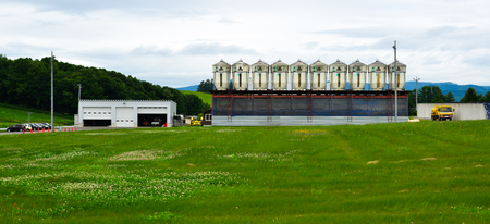 Furano, Japan - Jul 1, 2019. Farm building in Furano, Japan. Furano known for their pleasant and picturesque rural landscapes.