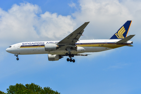 Singapore - Mar 27, 2019. 9V-SRP Singapore Airlines (Boeing 777-200ER) landing at Changi Airport (SIN). Changi hits record 65 million passengers in 2018.