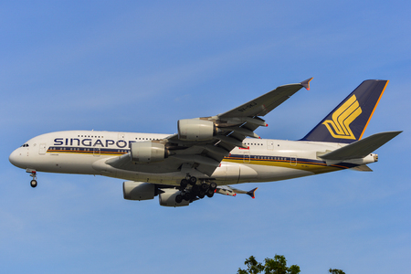 Singapore - Mar 27, 2019. 9V-SKJ Singapore Airlines Airbus A380 landing at Changi Airport (SIN). Changi hits record 65 million passengers in 2018.